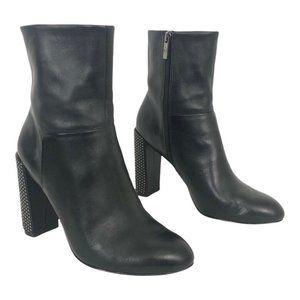H Halston Lea High-Heel Studded Black Boots